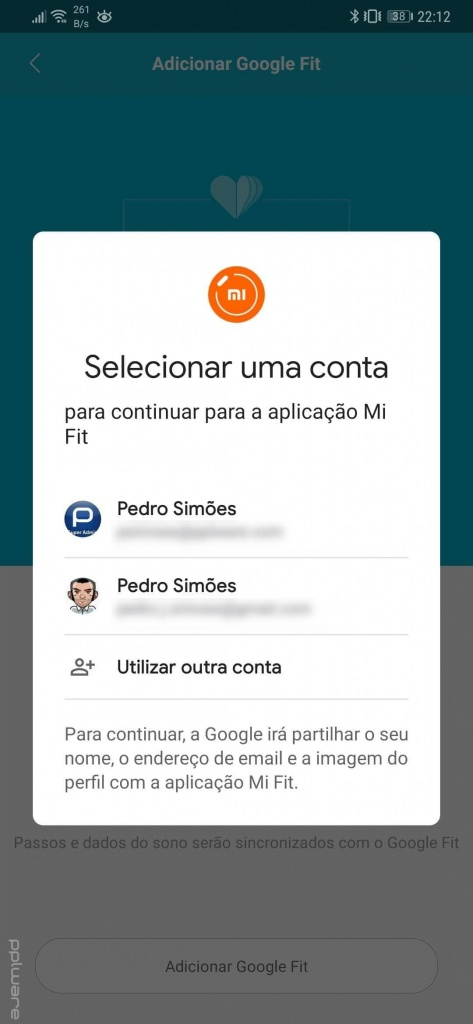 Mi Band Google Fit dados smartband passos
