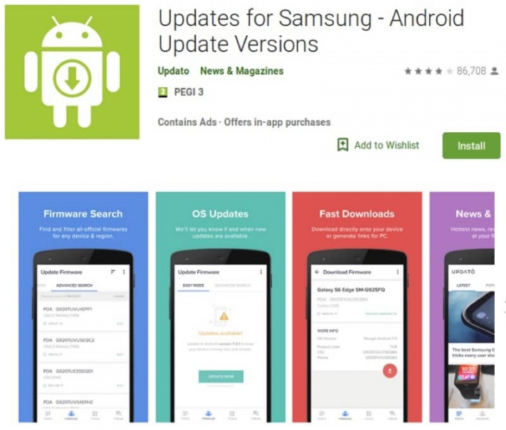 Google Android Play Store app Samsung