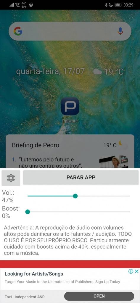 Android volume auscultadores som máximo
