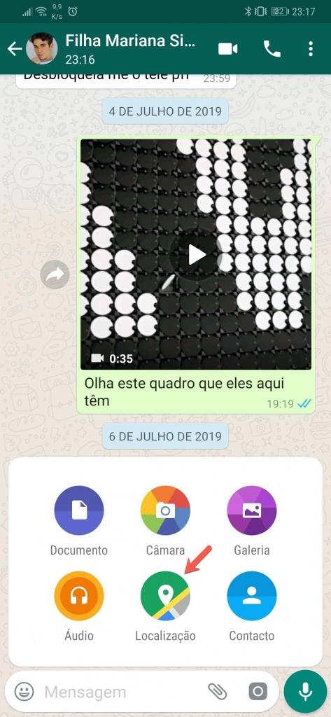 WhatsApp partilhar localização mensagem mapa