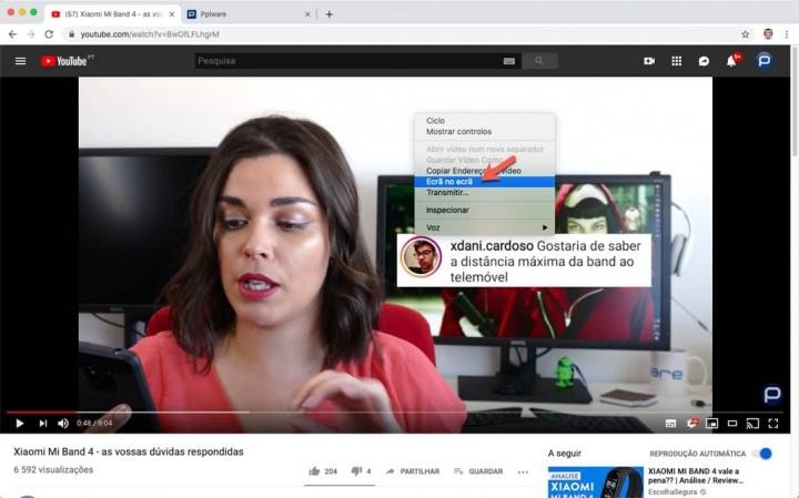 YouTube vídeo janela browser ecrã