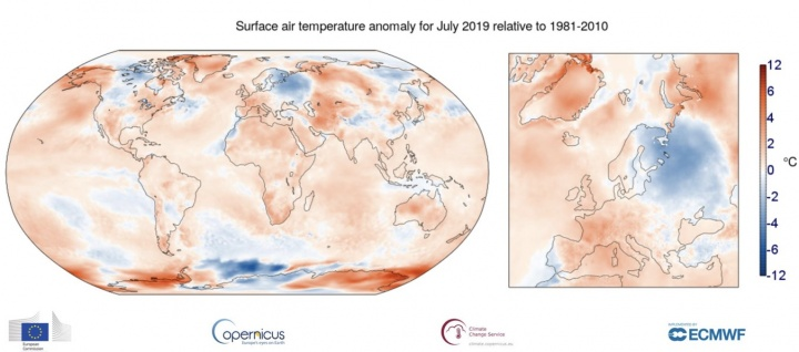 julho de 2019 foi o mês mais quente alguma vez alguma vez medido