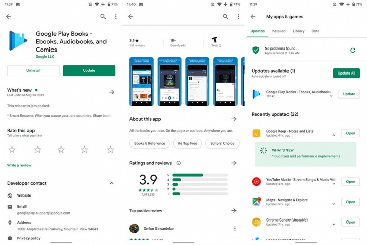 There is a new design in the Google Play Store