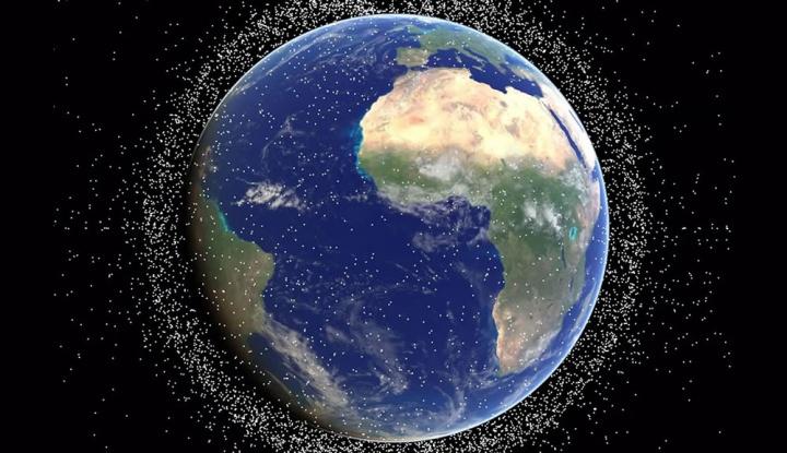 Imagem ilustrativa da Terra com agulhas em órbita no baixo Espaço