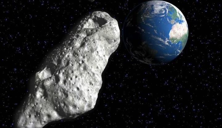 Ilustração de asteroide a passar perto da Terra e a surpreender astrónomos da ESA e NASA