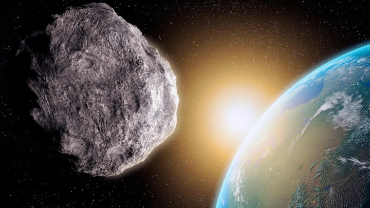 Imagem que ilustra asteroide a passar perto Terra