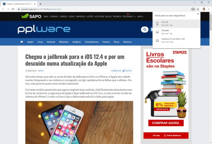 Chrome Google browser partilha separadores