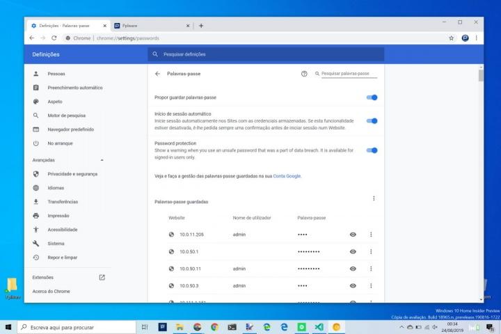 Chrome password Internet Google segurança