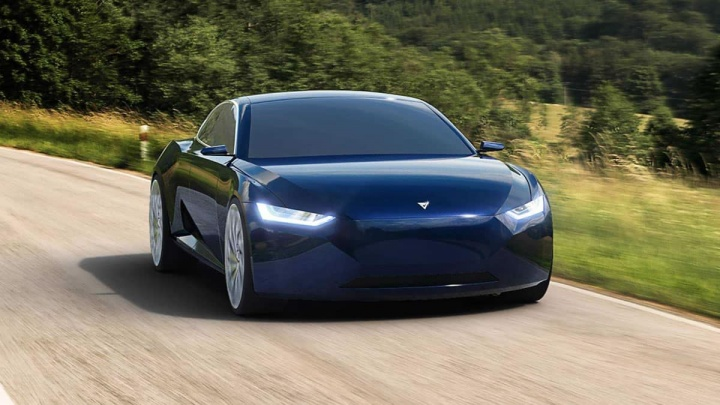 Imagem do Fresco Reverie que será o rival fabricado na Noruega do Model 3 da Tesla.