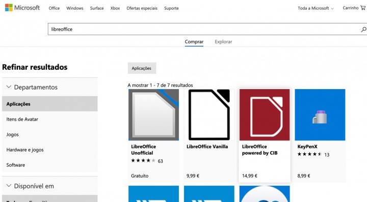 LibreOffice está disponível na loja de aplicações da Microsoft... por 9,99 euros