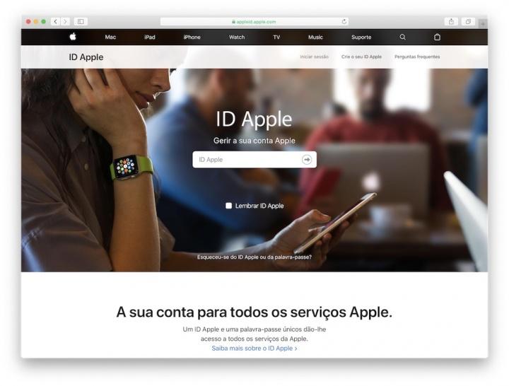 Imagem do serviço ID Apple a solicitar o email de acesso