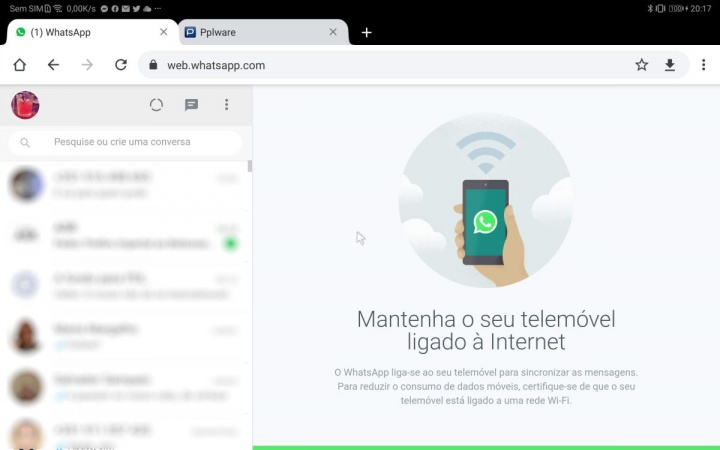 WhatsApp tablet browser serviço Android