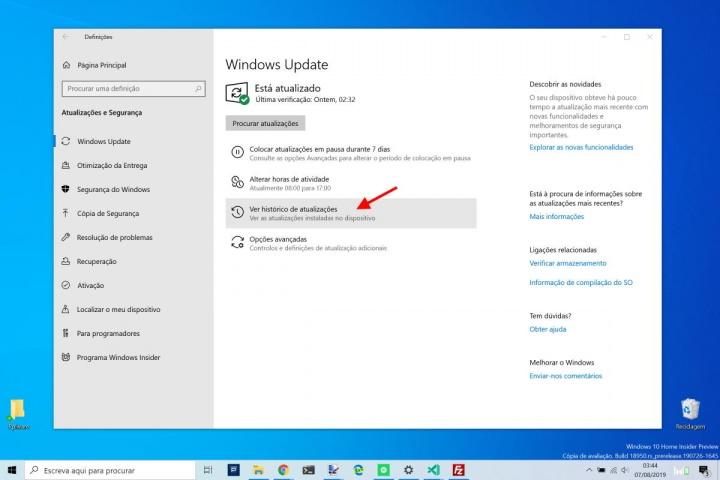 Wndows 10 atualizações Microsoft instaladas remover