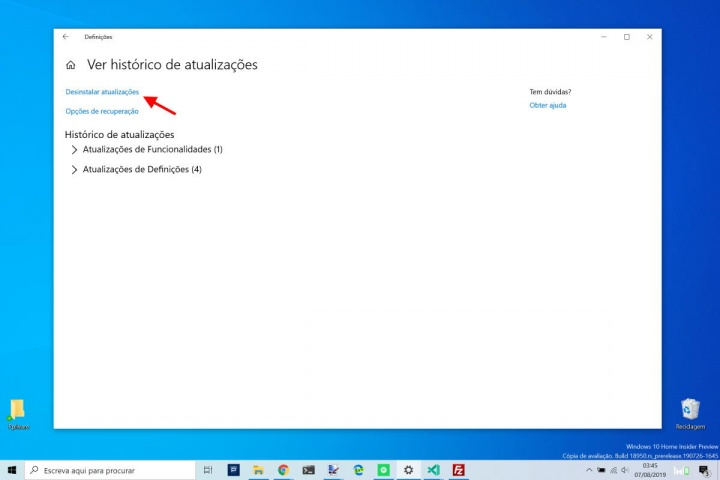 Windows 10 atualizações Microsoft instaladas remover