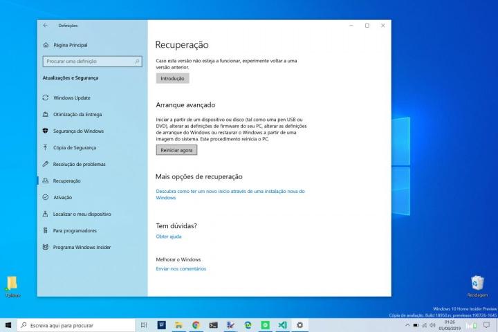 Windows 10 Arranque Avançado gestão reiniciar utilizadores