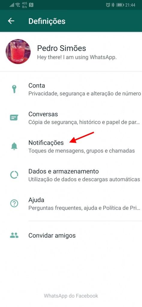 WhatsApp notificações Mensagens Grupos Chamadas