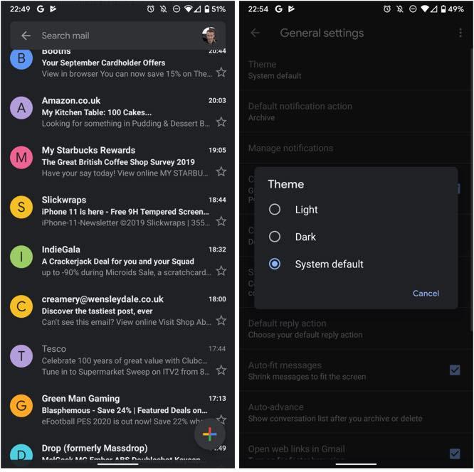 """Chegou a nova app do Gmail e tem um """"lado negro"""""""