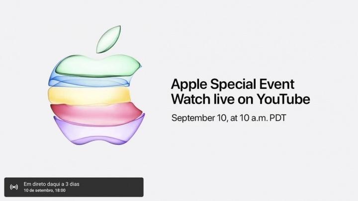 Imagem do YouTube que mostrará o evento da Apple do dia 10 de setembro