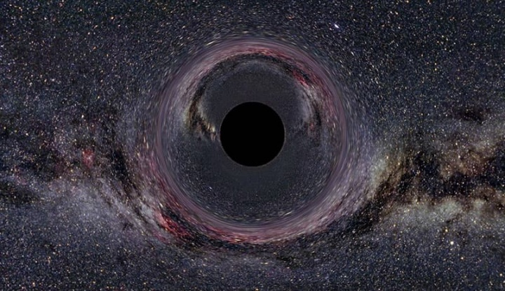 Imagem ilustrativa de buraco negro que poderá existir em vez do planeta x ou planeta 9 no nosso sistema solar
