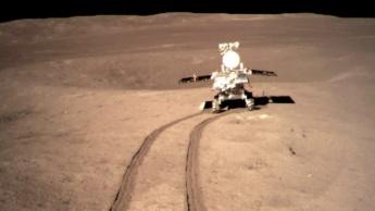 Imagem do rover lunar da China a explorar o lado negro da Lua