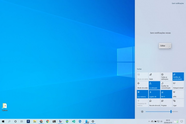 Windows 10 área notificações organizar ícones
