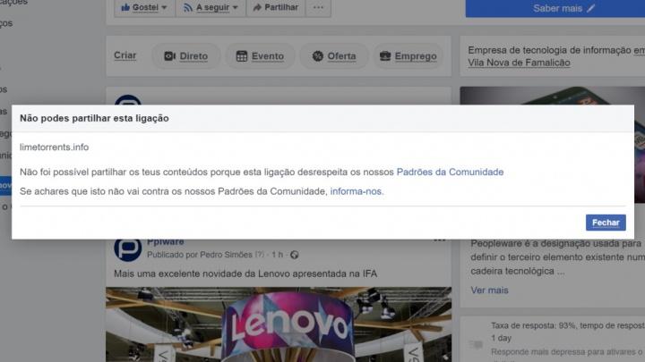 Facebook bloquear partilha sites piratas