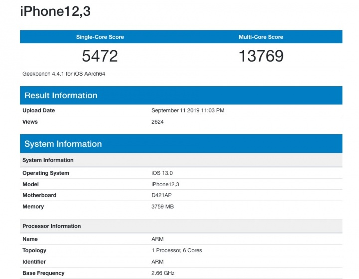 benchmark geekbench iPhone 11 Pro