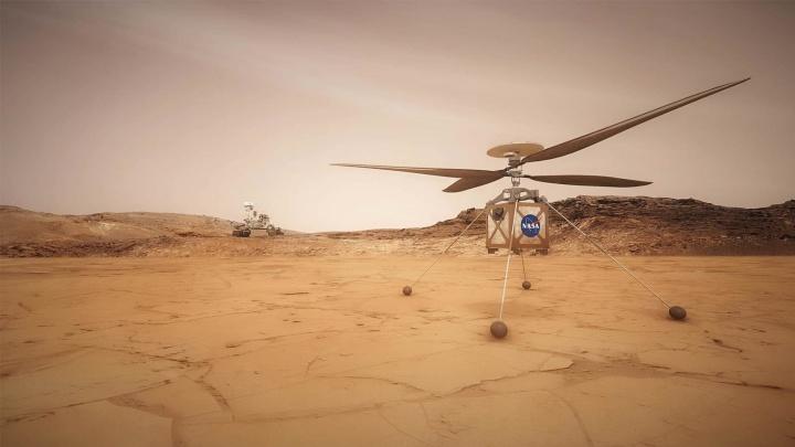 Imagem rover helicóptero da NASA para voar em Marte