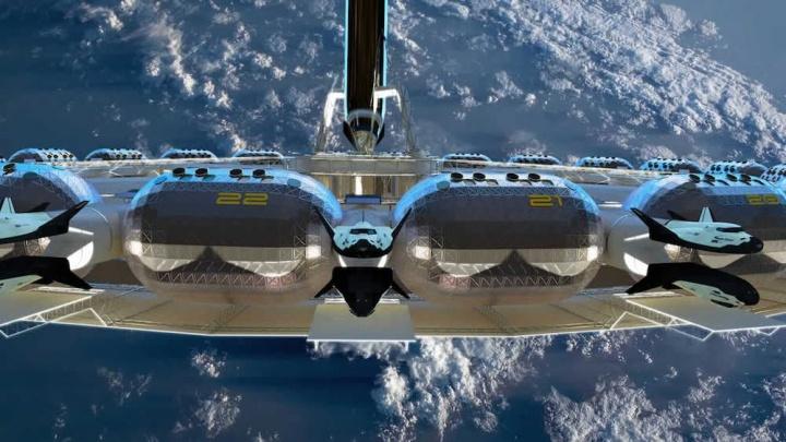Imagem de hotel espacial projetado com o nome von braun