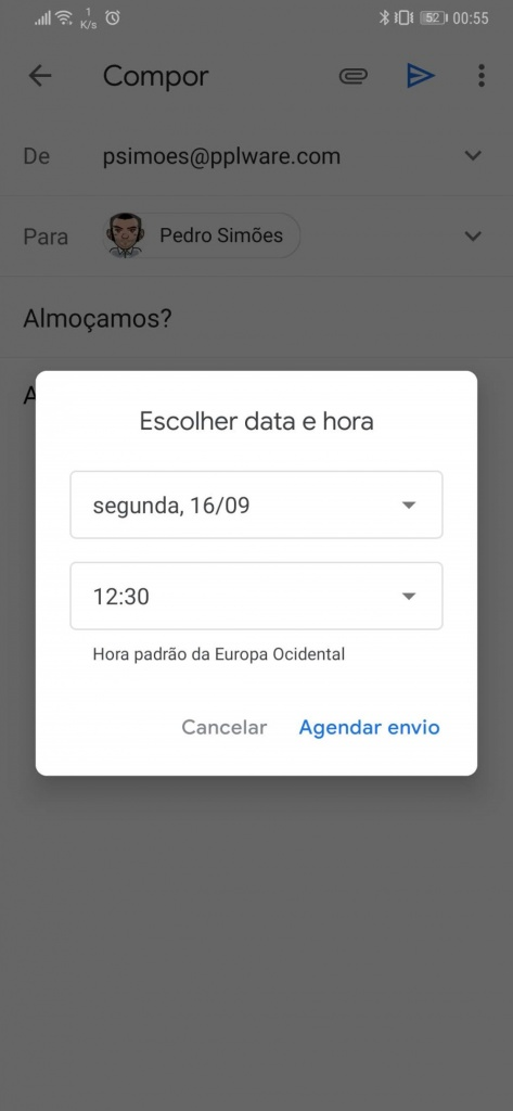 Gmail e-mail agendar Android mensagens