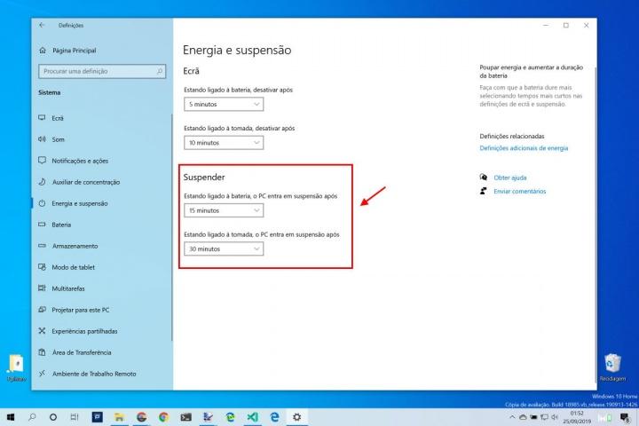 Windows 10 energia ecrã suspender bateria