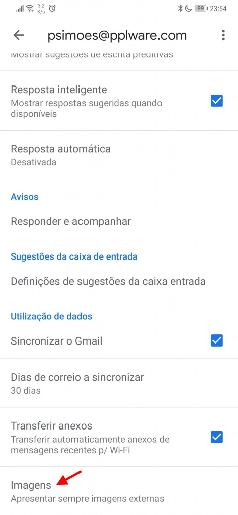 Gmail Android smartphone dados poupar