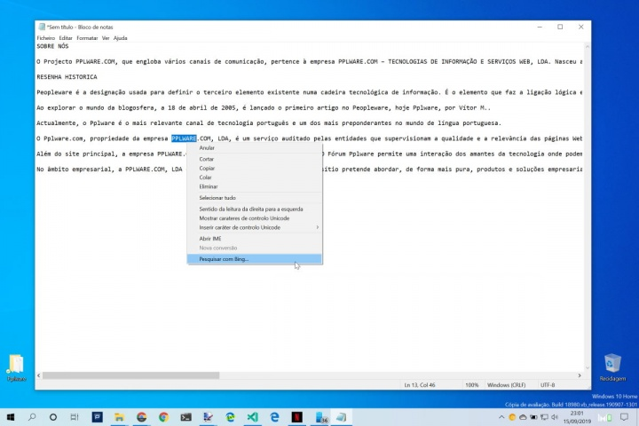 Notepad pesquisar Internet Windows 10 Bing