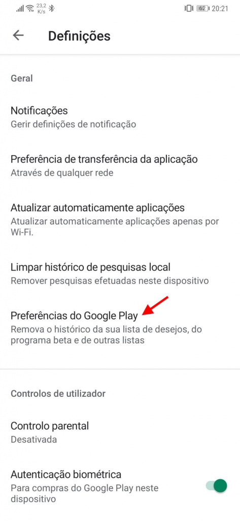 Play Store Google Android limpar apps