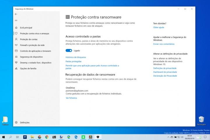 Windows 10 ransomware proteção seguro Microsoft