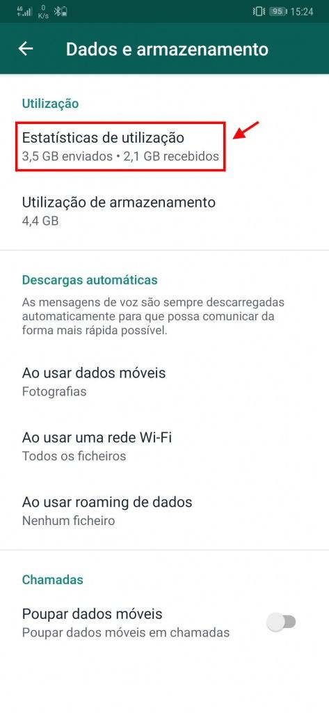 WhatsApp gastar dados ficheiros estatísticas