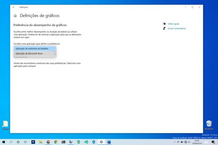 Windows 10 desempenho gráfico app utilizador