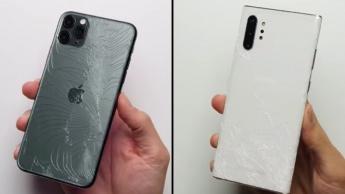 Samsung Galaxy Note10+ iPhone 11 Pro Max vidro quedas resistência teste