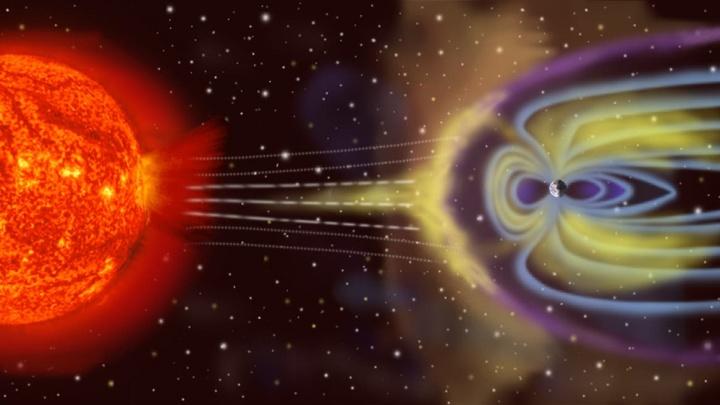 Imagem ilustrativa da tempestade geomagnética que está a atingir o planeta Terra