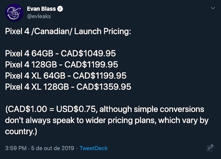 preço Google Pixel 4 aumento Evan Blass dólares canadianos