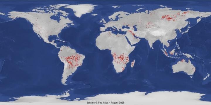 Programa Copernicus da ESA, relativo a incêndios, revela dados assustadores