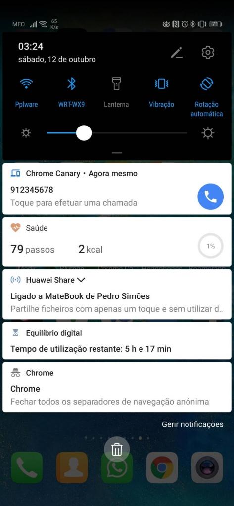 Chrome chamadas Android desktop telefone