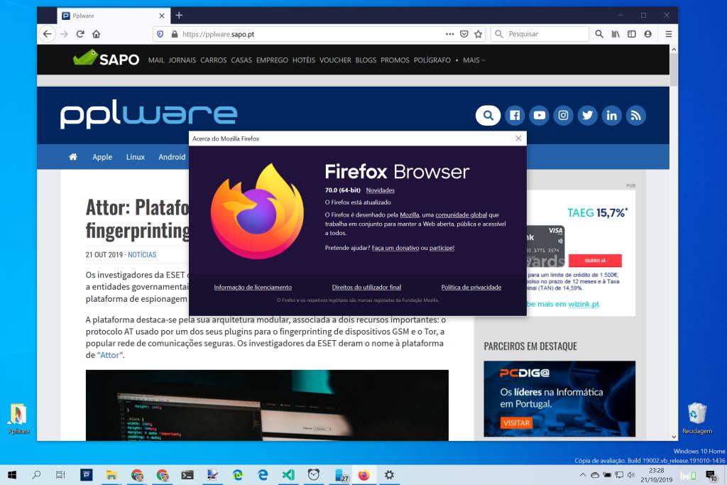 Firefox Mozilla browser novidades utilizadores