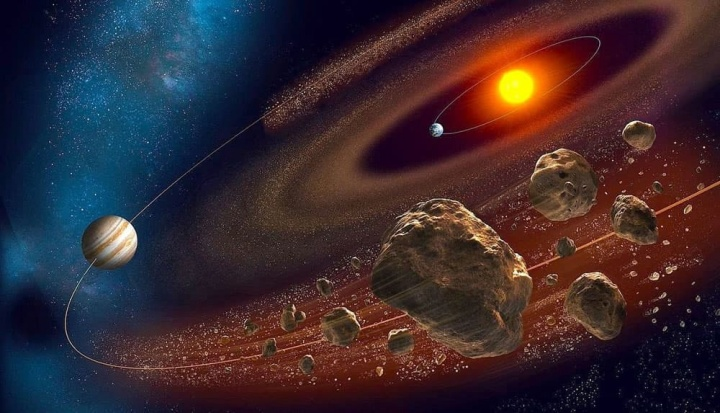 Imagem de ilustração de asteroides perigosos para a Terra que podem estar escondidos na sombra de Júpiter