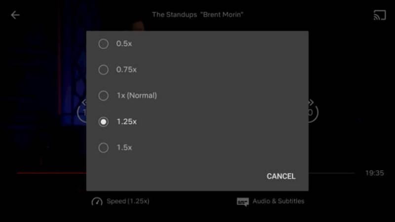 Netflix Android app interface velocidade