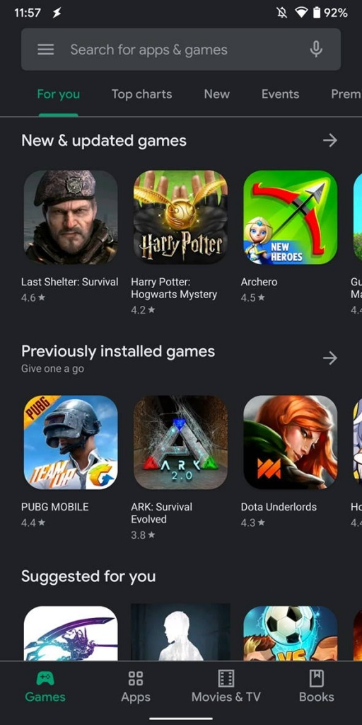 Dark Mode Play Store Android Google apps