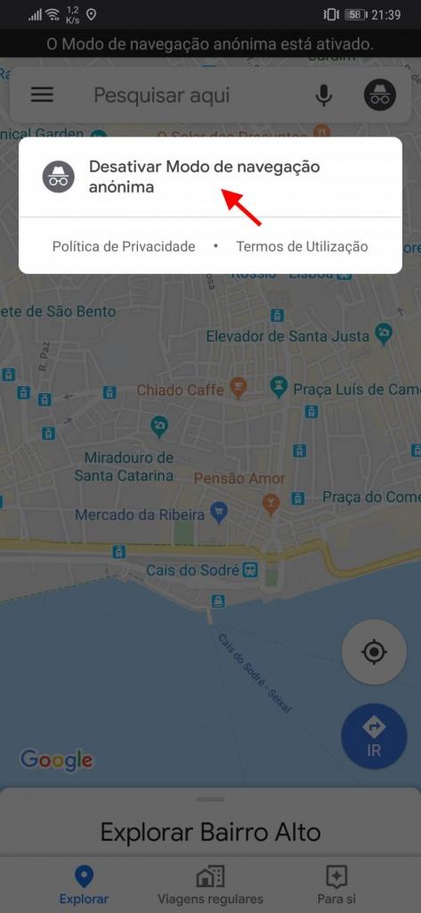 Google Maps navegação anónima Android
