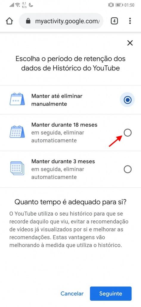 YouTube histórico vídeos eliminar automaticamente