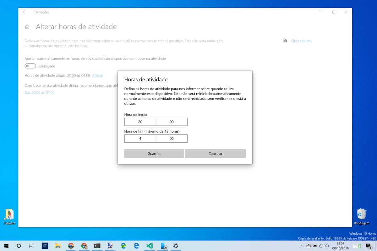 Windows 10 atualizações horas atividade instalação