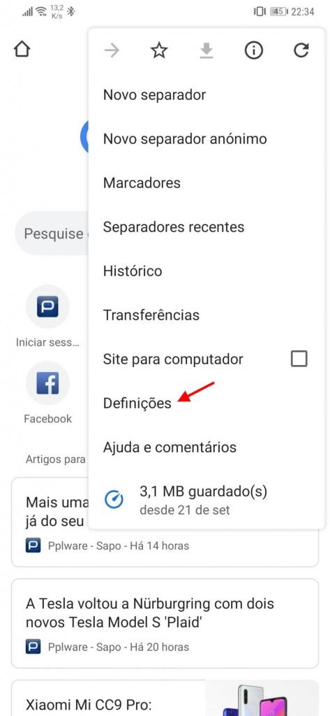 Chrome Android eliminar histórico navegação
